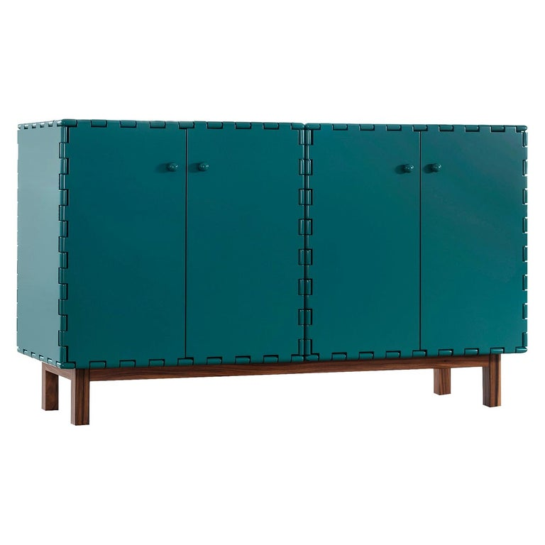 Finest Handcrafted Lacquered Interlocking Wood Panels Sideboard, Cabinet B For Sale