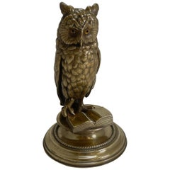 Finest Large Antique Austrian Brass Novelty Inkwell, Reading Owl, circa 1890