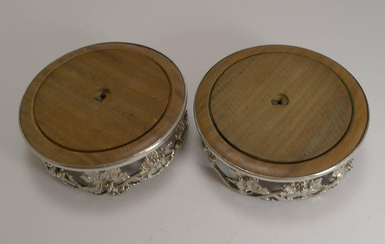 Early Victorian Finest Pair of Antique English Silver Plate Wine Coasters by Elkington, 1854 For Sale