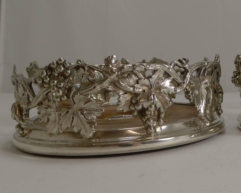 Plated Finest Pair of Antique English Silver Plate Wine Coasters by Elkington, 1854 For Sale