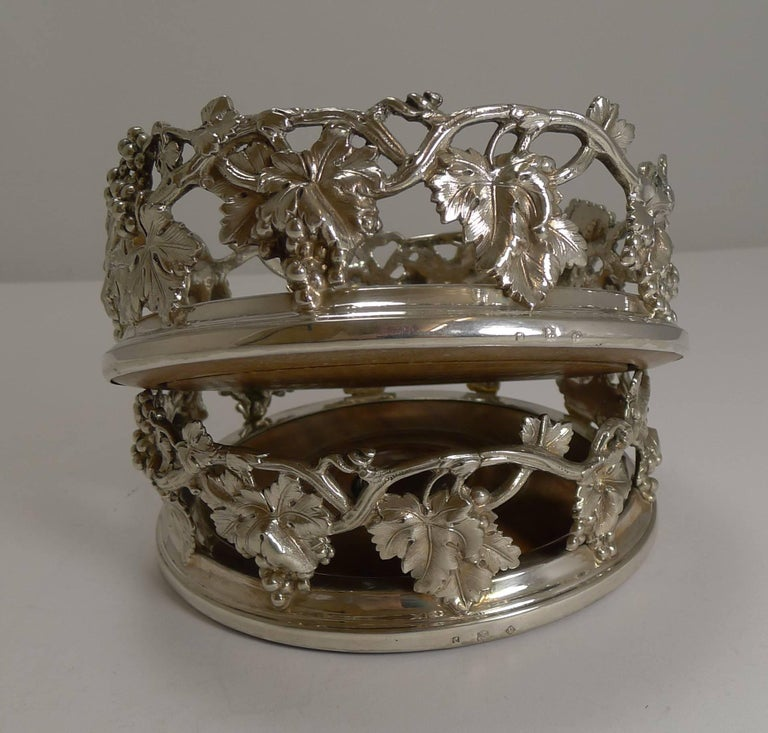 Finest Pair of Antique English Silver Plate Wine Coasters by Elkington, 1854 In Excellent Condition For Sale In London, GB
