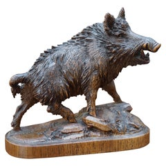 Finest Quality, Antique Hand Carved Nutwood Swiss Black Forest Boar Sculpture