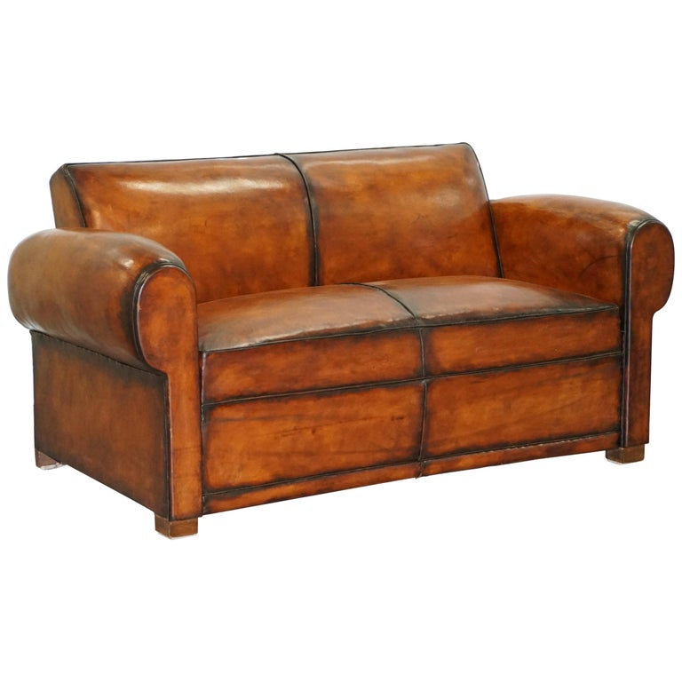 Quality Sofas For Sale: Finest Quality Art Deco Fully Restored Hand Dyed Brown