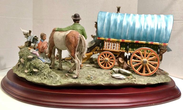 Finest Quality Capodimonte Gypsy Caravan Italian Porcelain Scene by Cortese For Sale 5