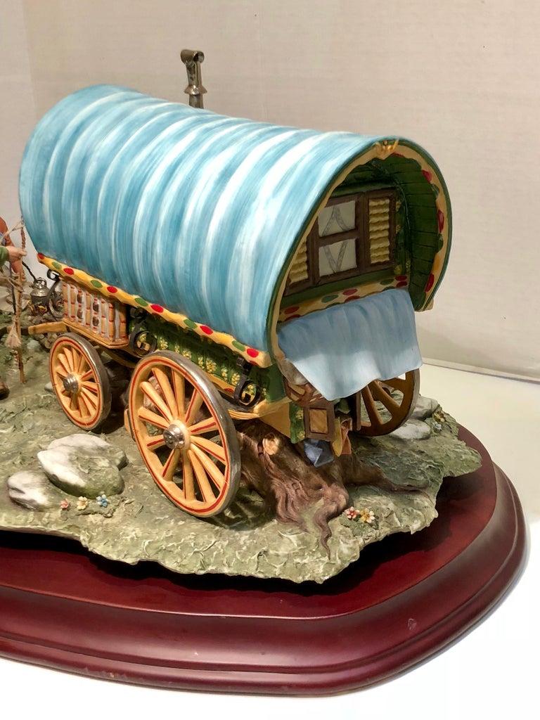 Finest Quality Capodimonte Gypsy Caravan Italian Porcelain Scene by Cortese For Sale 8