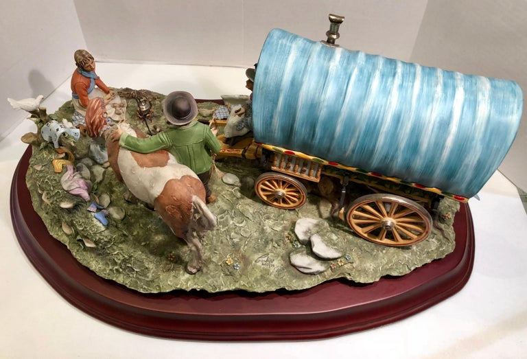 Finest Quality Capodimonte Gypsy Caravan Italian Porcelain Scene by Cortese For Sale 12