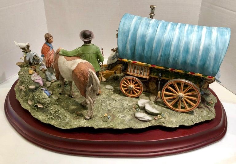 Finest Quality Capodimonte Gypsy Caravan Italian Porcelain Scene by Cortese For Sale 13