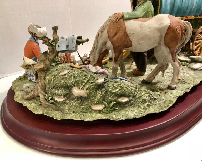 Finest Quality Capodimonte Gypsy Caravan Italian Porcelain Scene by Cortese For Sale 14
