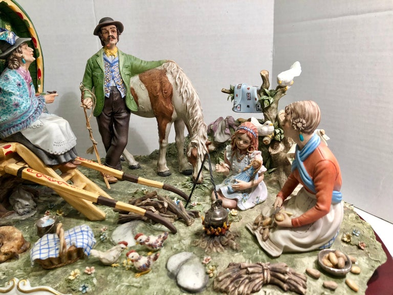 Other Finest Quality Capodimonte Gypsy Caravan Italian Porcelain Scene by Cortese For Sale
