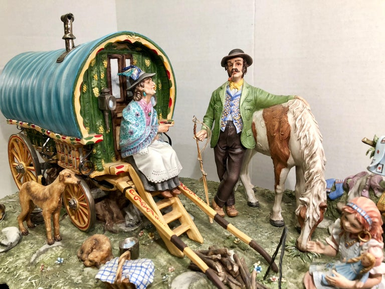 Fired Finest Quality Capodimonte Gypsy Caravan Italian Porcelain Scene by Cortese For Sale