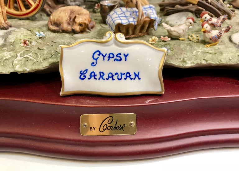 Finest Quality Capodimonte Gypsy Caravan Italian Porcelain Scene by Cortese In Excellent Condition For Sale In Tustin, CA