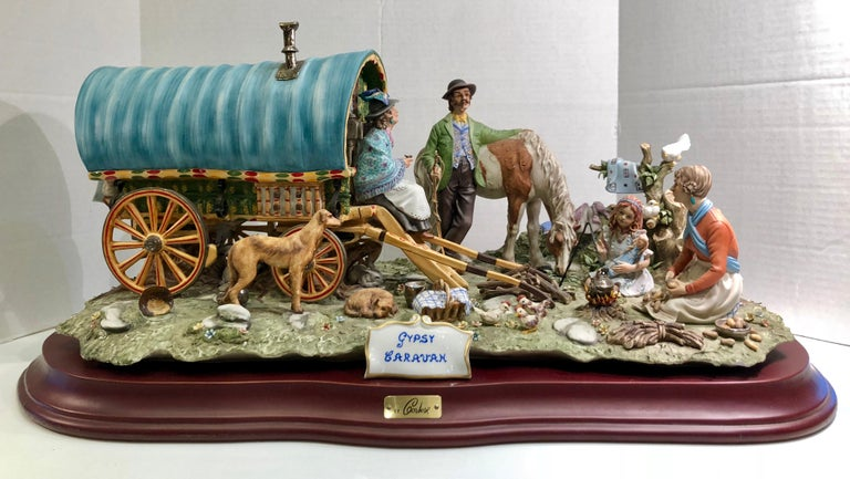 Finest Quality Capodimonte Gypsy Caravan Italian Porcelain Scene by Cortese For Sale 1