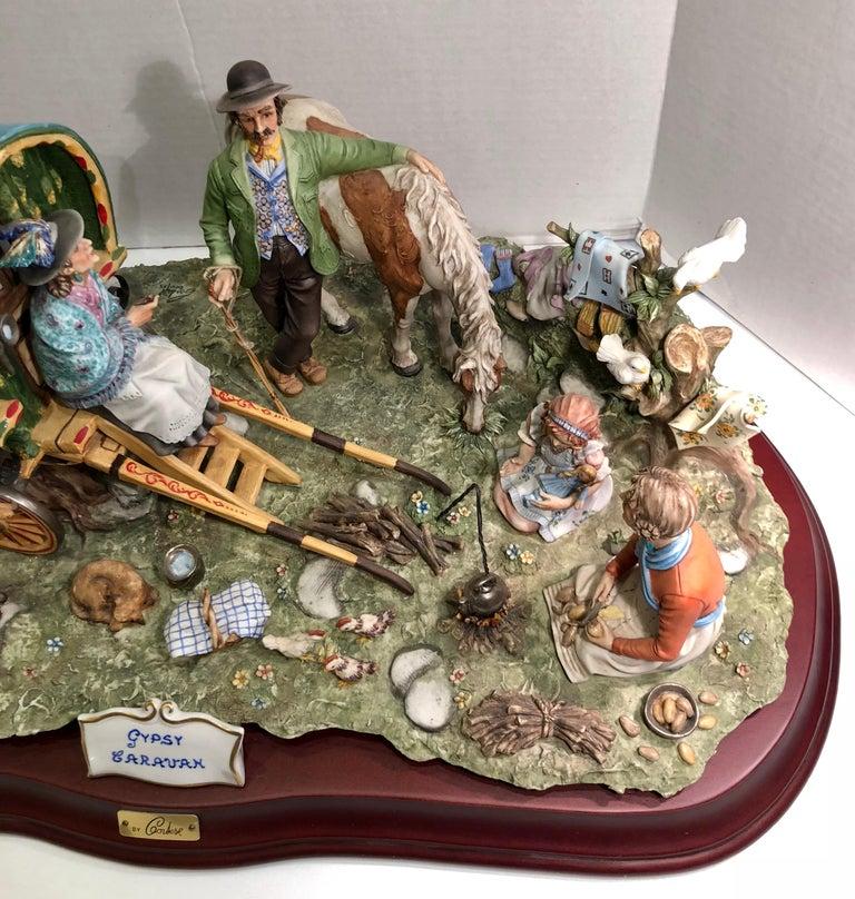 Finest Quality Capodimonte Gypsy Caravan Italian Porcelain Scene by Cortese For Sale 2
