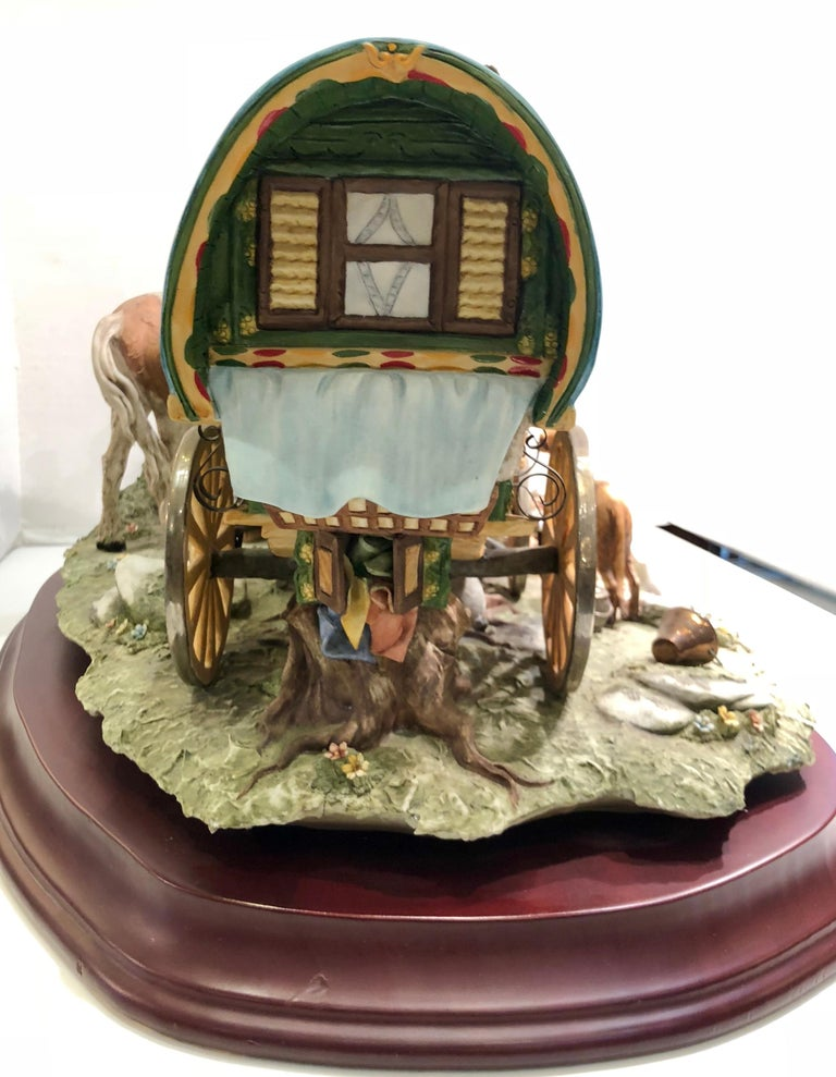 Finest Quality Capodimonte Gypsy Caravan Italian Porcelain Scene by Cortese For Sale 3