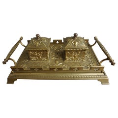 Finest Quality Handcrafted Antique Bronze and Brass Gothic Revival Inkstand