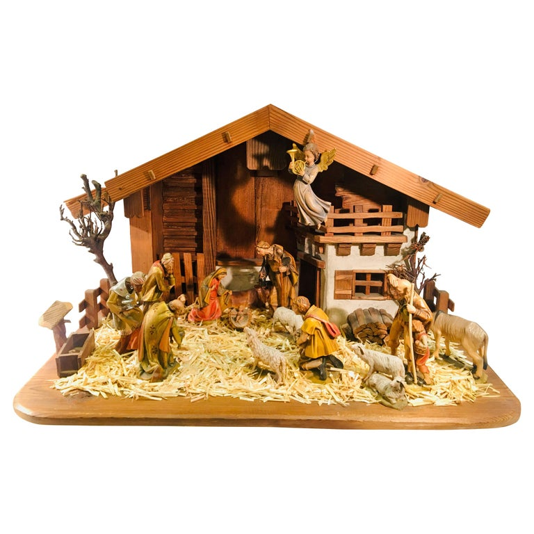 Finest Quality Italian Nativity Set Hand Carved Wood 17 Piece Oswald
