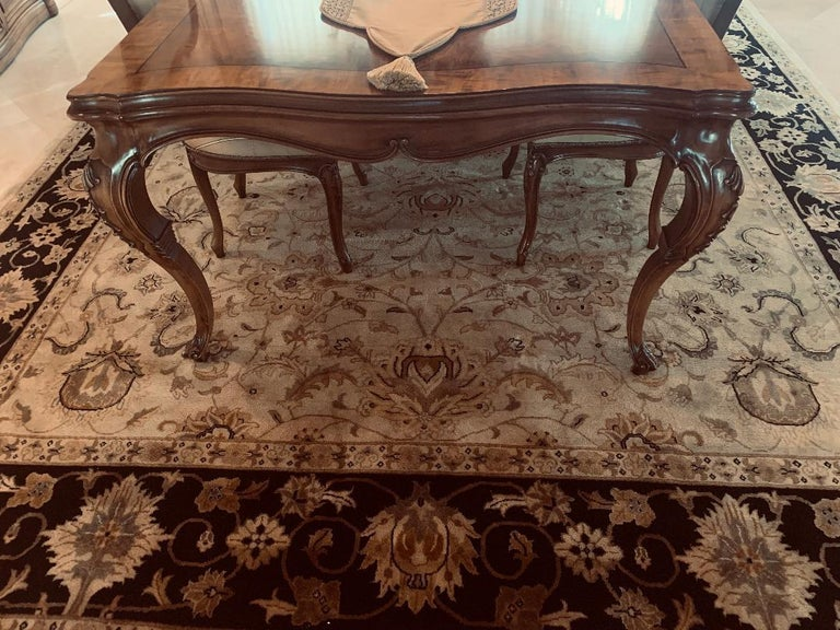 Finest Quality Karges Louis XV Style Walnut Dining Room Table with Eight Chairs For Sale 6