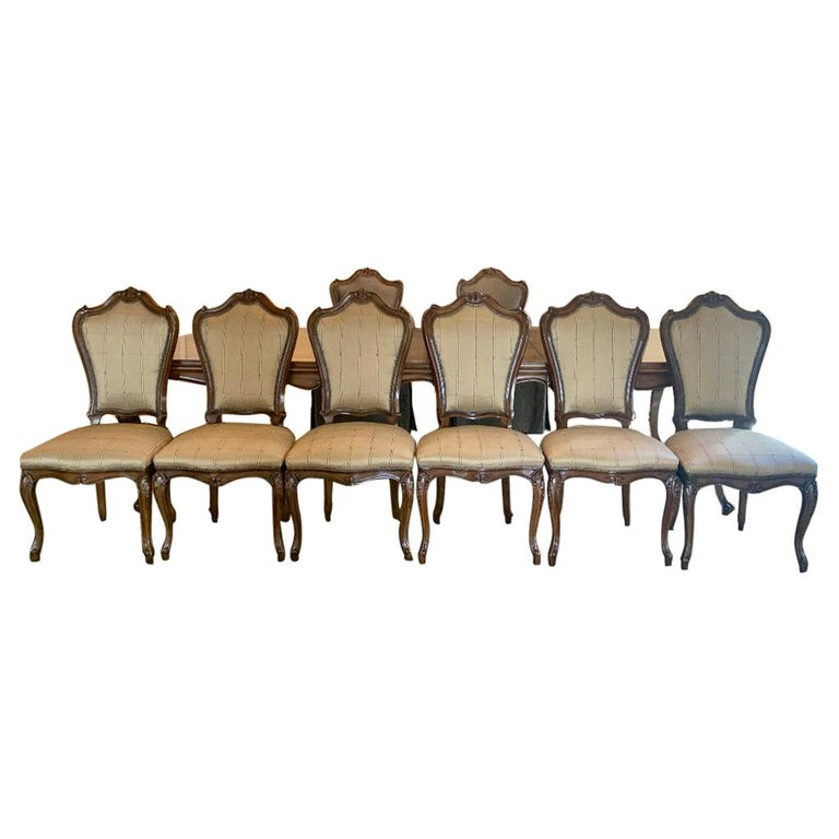 Finest Quality Karges Louis XV Style Walnut Dining Room Table with Eight Chairs For Sale