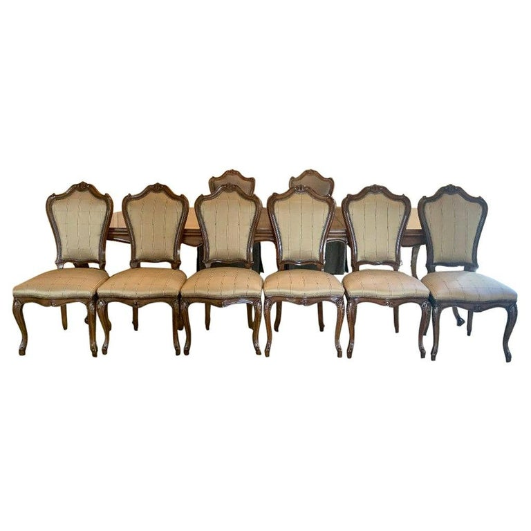 Finest Quality Karges Walnut Dining Room Table with Eight Chairs For Sale