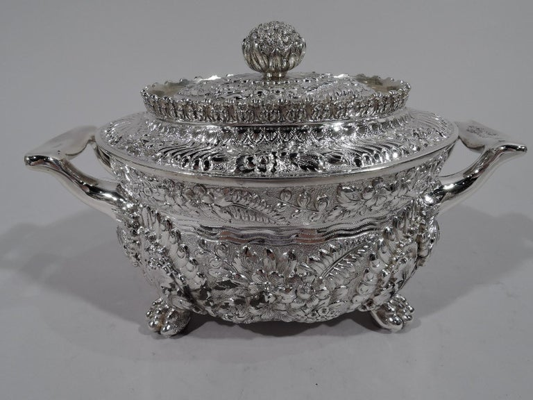 Finest Quality Tiffany Repousse Sterling Silver Coffee and Tea Set For Sale 4