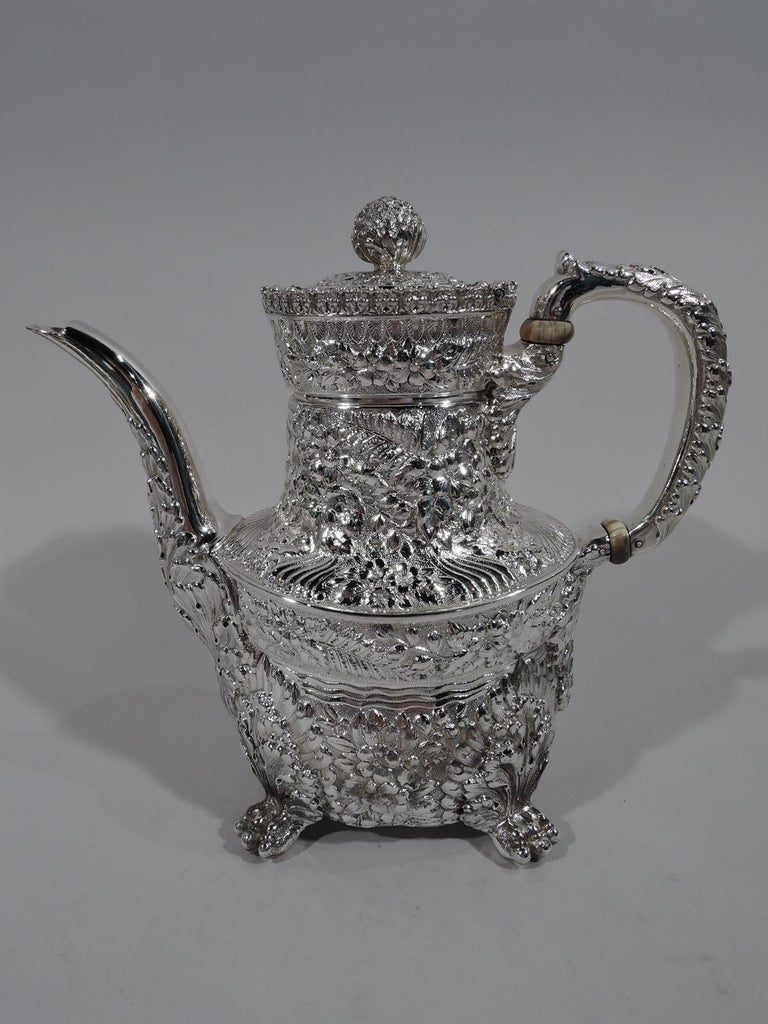 19th Century Finest Quality Tiffany Repousse Sterling Silver Coffee and Tea Set For Sale