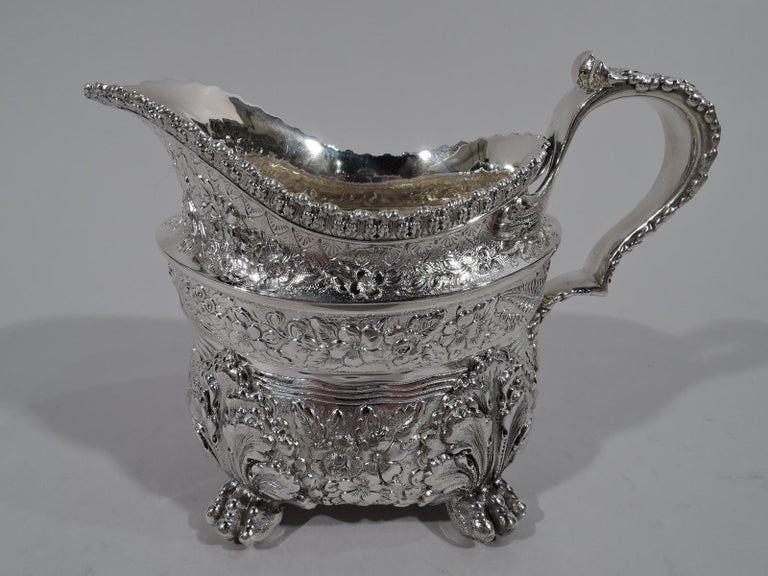 Finest Quality Tiffany Repousse Sterling Silver Coffee and Tea Set For Sale 3