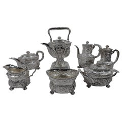 Finest Quality Tiffany Repousse Sterling Silver Coffee and Tea Set