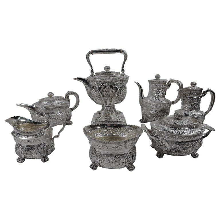 Finest Quality Tiffany Repousse Sterling Silver Coffee and Tea Set For Sale