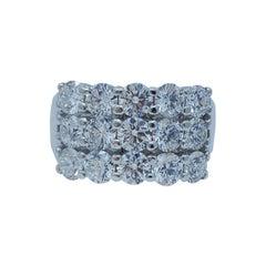 Finest Quality VVS1 3.75 Carat Diamond Triple Row Band Ring 18 Karat White Gold