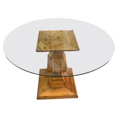Finial Shaped Bamboo Base Round Glass Top Dining Table, Italy, 1970s