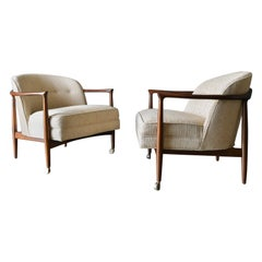 Finn Andersen for Selig Denmark Sculpted Barrel Back Lounge Chairs, circa 1960