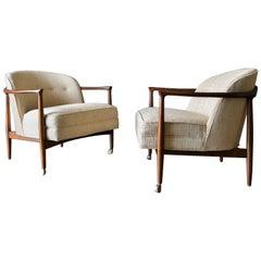 Finn Andersen for Selig Denmark Sculpted Barrel Back Lounge Chairs, circa 1960