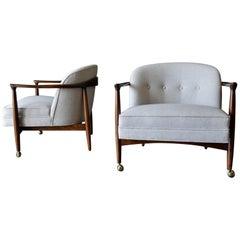 Finn Andersen for Selig Sculpted Walnut Barrel Back Chairs, circa 1960