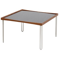 Finn Juhl Tray Table, Wood, High Gloss Black and White Laminate and Steel