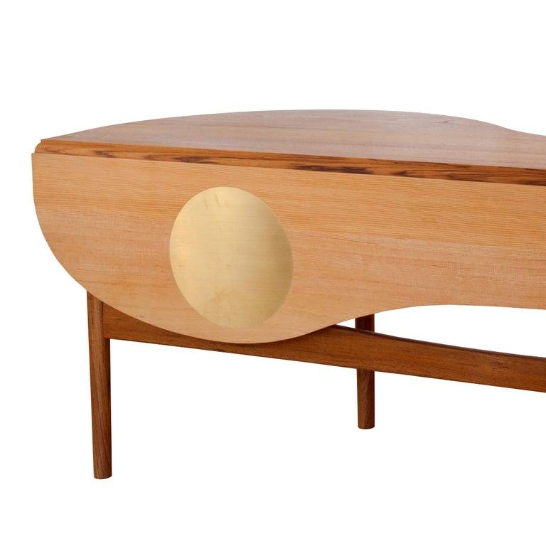 Modern Finn Juhl Butterfly Table Teak and Oregon Wood Brass For Sale