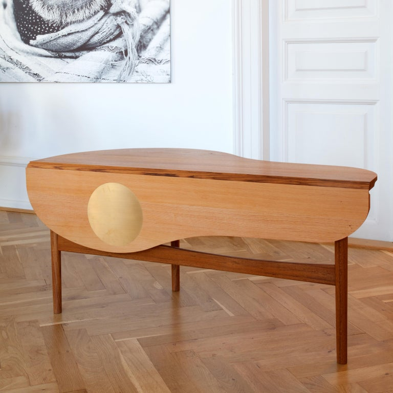 Danish Finn Jhul Butterfly Table Teak and Oregon Wood Brass, 1949 For Sale