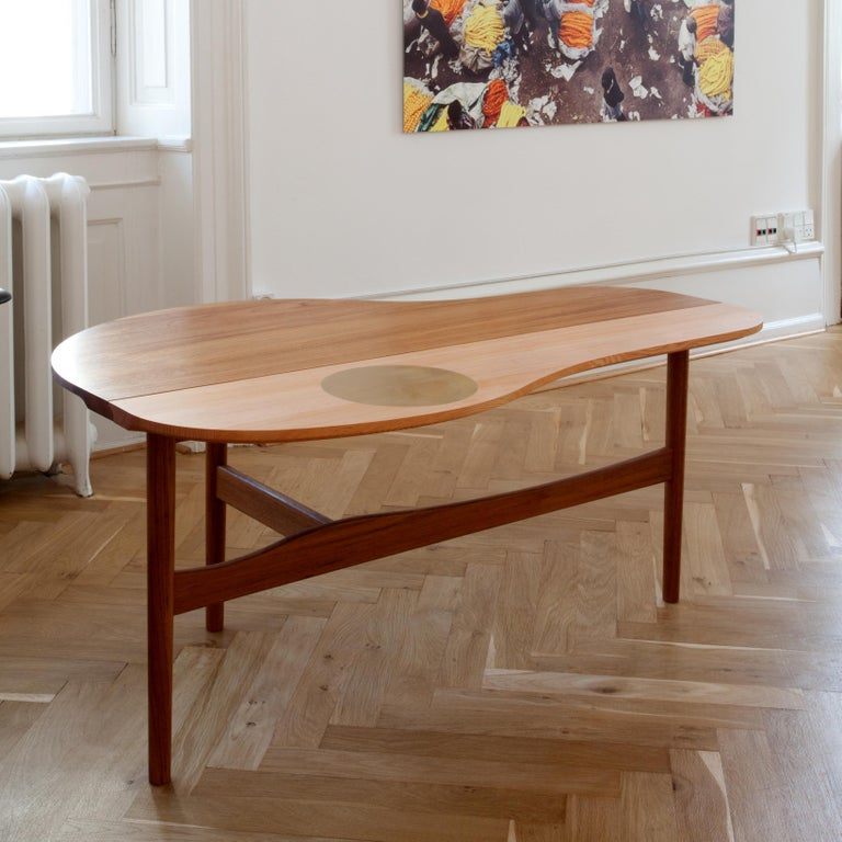 Finn Jhul Butterfly Table Teak and Oregon Wood Brass, 1949 In New Condition For Sale In Barcelona, Barcelona