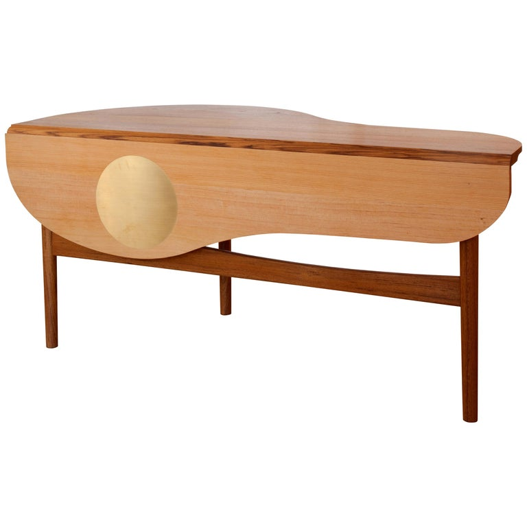 Finn Jhul Butterfly Table Teak and Oregon Wood Brass, 1949 For Sale