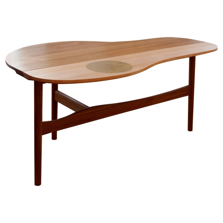 Finn Juhl Butterfly Table Teak and Oregon Wood Brass For Sale