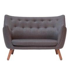 Finn Juhl Poet Sofa Couch Grey Remix, Walnut
