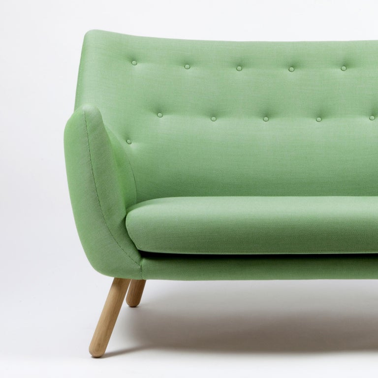 Sofa designed by Finn Jhul Manufactured by One collection Finn Juhl (Denmark)  Kvadrat Rime Fabric  This small two-seat sofa first saw the light of day at the Copenhagen Cabinetmakers' Guild Exhibition in 1941. It should be seen as a natural