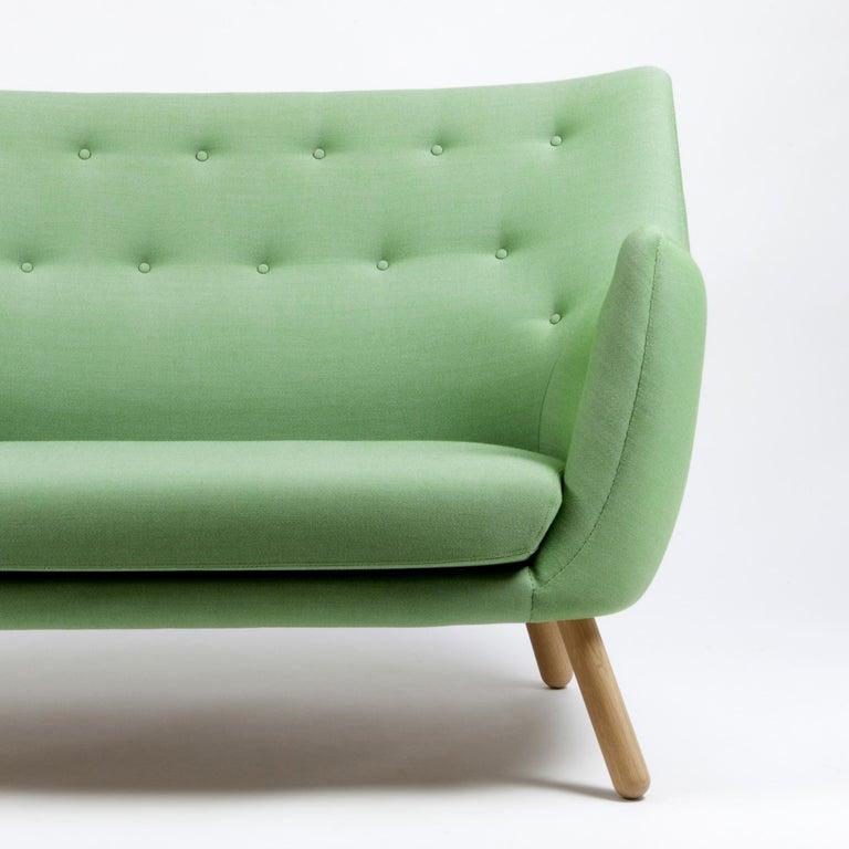 Modern Finn Jhul Poet Sofa Walnut, Green Kvadrat Rime, 1941 For Sale