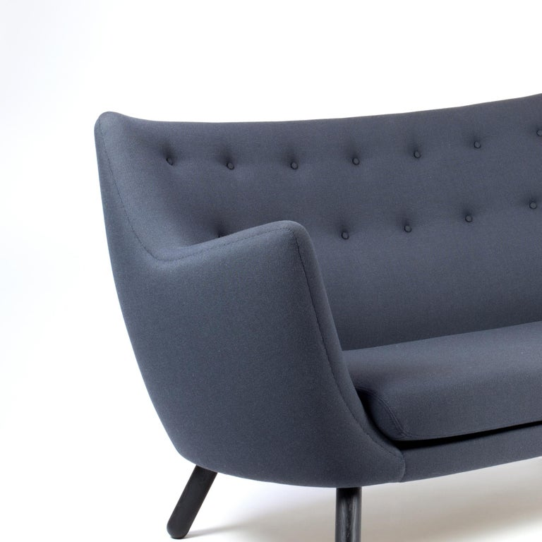 Modern Finn Jhul Poet Sofa Walnut Wood Blue Kvadrat Rime Upholstery, 1941 For Sale