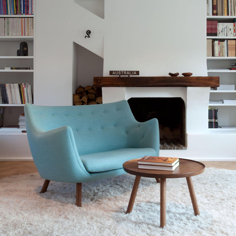 Fabric Finn Jhul Poet Sofa Walnut Wood Blue Kvadrat Rime Upholstery, 1941 For Sale