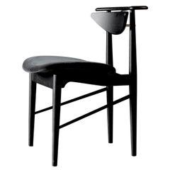 Finn Jhul Reading Chair, Black Painted Oak, Harald Velour Fabric, 1953