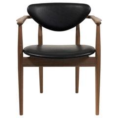 Finn Juhl 109 Chair, Wood and Elegance Black Leather