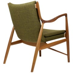 Finn Juhl 45 Chair in Teak Wood and Green Upholstery