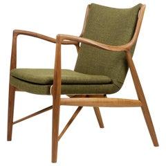 Finn Juhl 45 Chair in Teak Wood and Green Upholstery