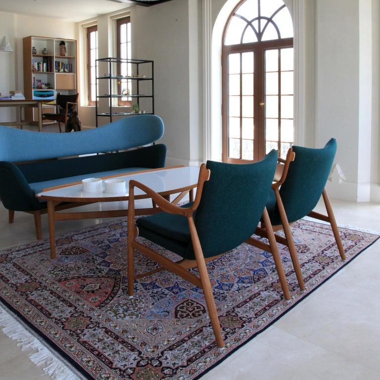 Finn Juhl 45 Chair Walnut, Black Leather For Sale 5