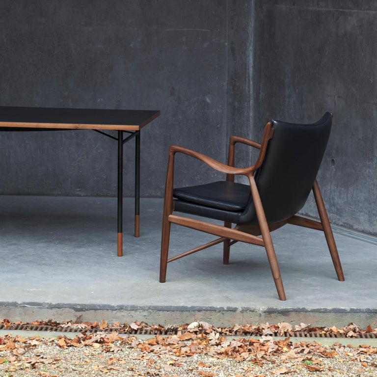 Finn Juhl 45 Chair Walnut, Black Leather For Sale 7
